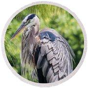 Great Blue Heron Iv Round Beach Towel