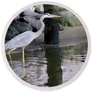 Great Blue Heron - Mealtime Round Beach Towel