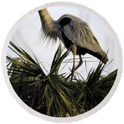 Great Blue Heron On Palm Round Beach Towel