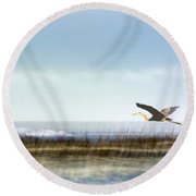 Great Blue Heron - Orange Beach Alabama Round Beach Towel