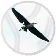 Great Blue Heron River Flight  Round Beach Towel
