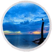 Great Blue Heron Sunrise Round Beach Towel