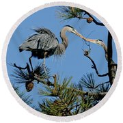 Great Blue Heron With Nest Material Round Beach Towel