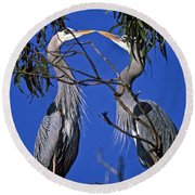 Great Blue Herons Round Beach Towel
