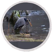 Great Blue On The Clinch River II Round Beach Towel