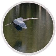 Great Blue Over Green Round Beach Towel