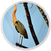 Great Blue Sunset Round Beach Towel