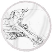 Great Dane Dog Sketch Bella Round Beach Towel
