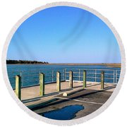 Great Day For Fishing In The Marsh Round Beach Towel