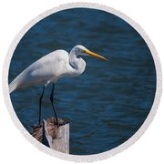 Great Egret At His Post Round Beach Towel