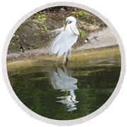 Great Egret In The Lake Round Beach Towel