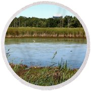 Great Egret On Berm Pond At Tifft Nature Preserve Buffalo New York Round Beach Towel