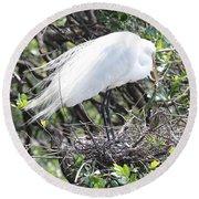 Great Egret On Nest Round Beach Towel