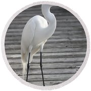 Great Egret On The Pier Round Beach Towel