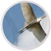 Great Egret Overhead Round Beach Towel