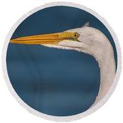 Great Egret Portrait Round Beach Towel