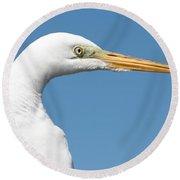 Great Egret Profile Against Blue Sky Round Beach Towel