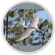 Great Egret Spirit Round Beach Towel