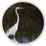 Great Egret Standing Out Round Beach Towel
