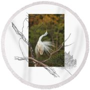Great Egret - Stretch Round Beach Towel
