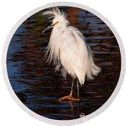 Great Egret Walking On Water Round Beach Towel