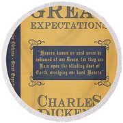 Great Expectations By Charles Dickens Book Cover Poster Art 1 Round Beach Towel