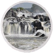 Great Falls Of The Potomac River Round Beach Towel