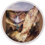 Great Falls Of Yellowstone Round Beach Towel