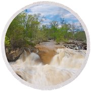 Great Falls White Water #5 Round Beach Towel