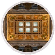 Great Hall Ceiling Library Of Congress Round Beach Towel