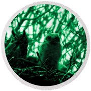 Great Horned Owl And Owlet Round Beach Towel