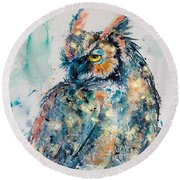 Great Horned Owl In Gold Round Beach Towel