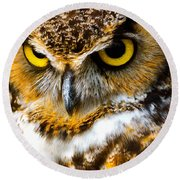 Great Horned Owl  Round Beach Towel by Parker Cunningham