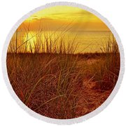 Great Lake Great Sunset 2 Round Beach Towel