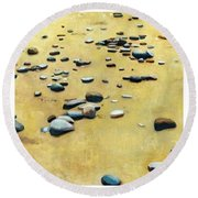 Great Lakes Triptych 2 Round Beach Towel by Michelle Calkins