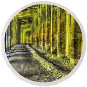 Great Norther Railroad Snow Shed - Electric Neon Round Beach Towel