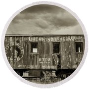 Great Northern Caboose Round Beach Towel
