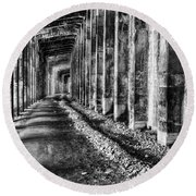 Great Northern Railroad Snow Shed - Black And White Round Beach Towel