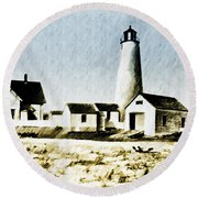 Great Point Lighthouse Nantucket Round Beach Towel