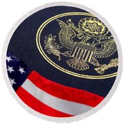 Great Seal Of The United States And American Flag Round Beach Towel