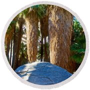 Great Sliding Rock In Lower Palm Canyon In Indian Canyons Near Palm Springs-california Round Beach Towel