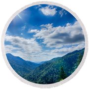 Great Smoky Mountains National Park On North Carolina Tennessee  Round Beach Towel
