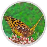 Great Spangled Fritillary Butterfly - Speyeria Cybele Round Beach Towel