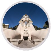 Great Sphinx Of Giza Luxor Resort Las Vegas Round Beach Towel