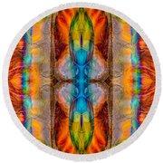 Great Spirit Abstract Pattern Artwork By Omaste Witkowski Round Beach Towel
