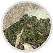Great Wall 0033 - Colored Photo 2 Sl Round Beach Towel
