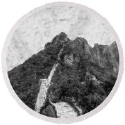 Great Wall 0033 - Graphite Drawing Sl Round Beach Towel