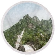Great Wall 0033 - Light Colored Pencils Sl Round Beach Towel