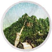 Great Wall 0033 - Pastel Pencil 1 Sl Round Beach Towel