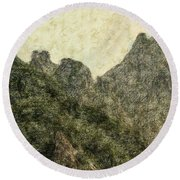 Great Wall 0043 - Colored Photo 2 Round Beach Towel